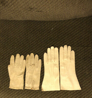 Two Pairs Vintage White Leather Gloves