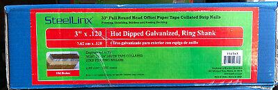 """Round Head 3"""" x 120 Paper Strip 33 Degree Collated Ring Shank Hot Dipped 2000 Pc"""