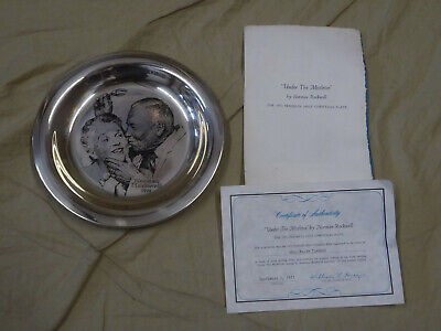 "1971 Franklin Mint NORMAN ROCKWELL Under the Mistletoe 8"" Sterling Silver Plate"
