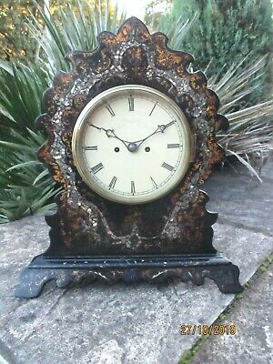"Unique  "" Paper Mache""  Twin Fusee Victorian Mantel Clock."