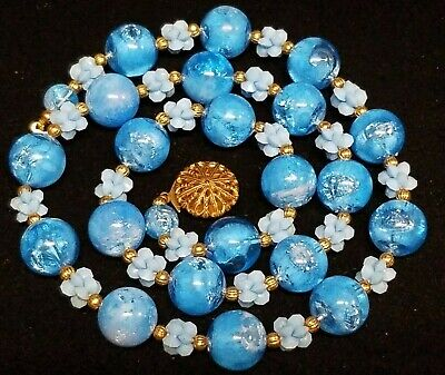 Vintage Chunky Crackled Translucent Swirl Lucite Bead Necklace Blue Mid Century