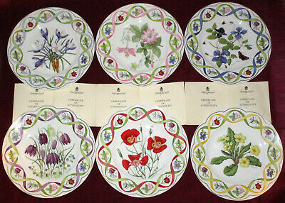 """FULL SET 6 WEDGWOOD PLATES + CERTIFICATES """"The Flower Artists of Kew"""" LIMITED UK"""