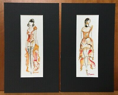Vintage Burlesque Intimates Original Water Colour Veronique Bosshard Pair of 2