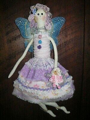 Lovely Handmade Cloth Fairy Doll.Lightly Tea Dyed,Glittered,Large Wings.Gorgeous