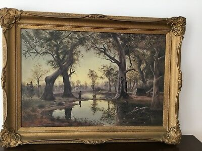 Antique Original Oil Painting on Canvas By Henry Hoile 1883  Ornate Gold Frame