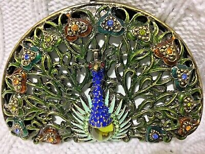 "Welforth Fine Pewter Enamel Jewel Peacock Mirrored Compact(3.5"" X 2.25"")"