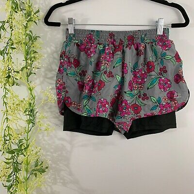 Womens RBX Performance Size Small S Lined Floral Running Shorts Multicolor