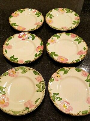 "(6) Franciscan Desert Rose Bread and Butter Plates 6.5"" Dishes Dessert Salad"
