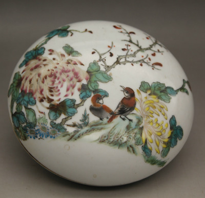 11*4cm Chinese Famille-rose Porcelain Chrysanthemum Flowers Birds Round Ink Box