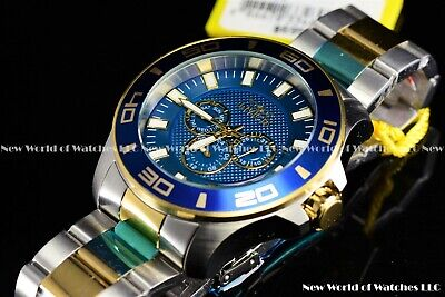 Invicta Mens 50mm Pro Diver Two Tone Blue Dial Stainless Steel Watch