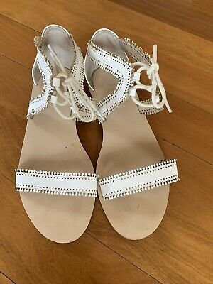 Witchery White tie up sandals Size 39