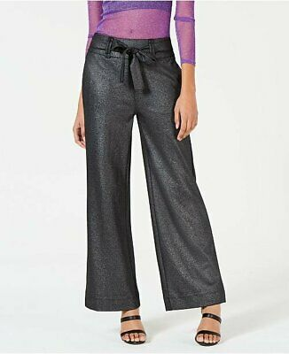 XOXO  $59 Juniors' Shine Wide Leg Trousers Pants XS Silver NWT