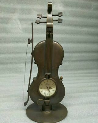 9 inch/Beautiful and charming bronze statue, violin, mechanical clock and watch