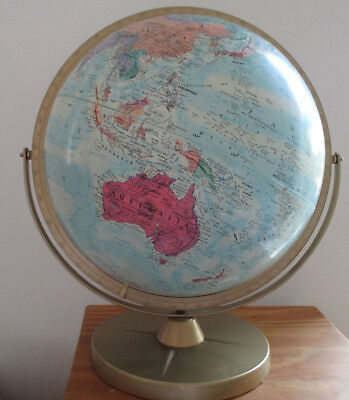 Vintage Replogle Rotating World Globe with Booklet metal base 45cm high