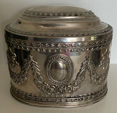 Vintage Silverplated 'Baroque' jewellery chest 11cm x 14cm