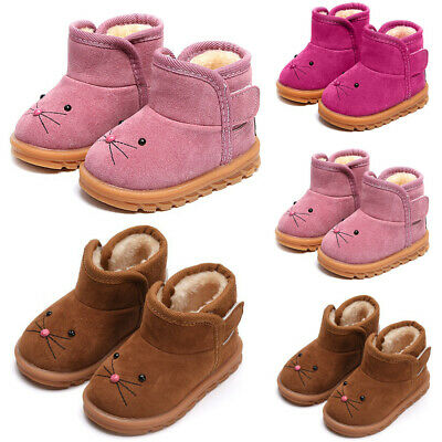 Boys Girls Winter Warm Fur Lined Ankle Snow Boots Kids Cartoon Flats Shoes Size