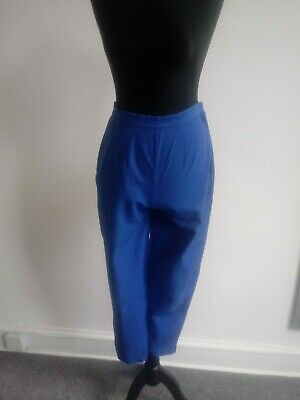 Vintage Retro Cobalt Blue 1950s High-Waisted Trousers Size 10/12