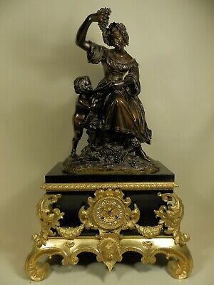 Large Antique French Figural marble Clock with bronze Allegorical  group ca 184