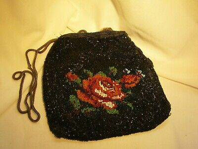 Divine  Antique French Highly Beaded Pure Bag Decorated With Roses