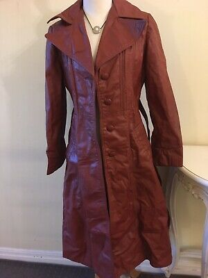 Vintage Leather Coat With Tie. Colour: Sienna Brown. Size 10.