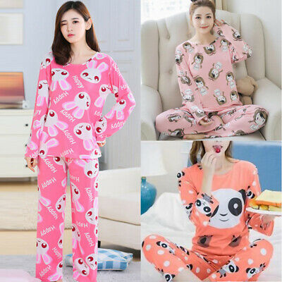 Women Girls Cute Fun Nightwear Pyjamas Long Sleeve Cartoon Print Sleepwear Set