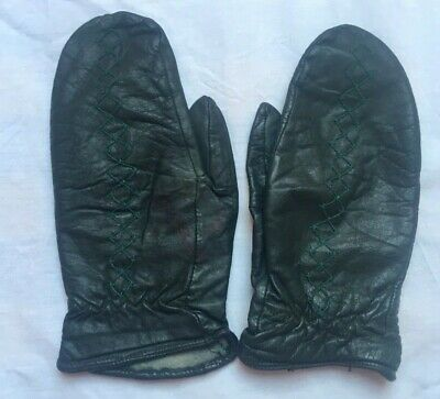 Vintage Ski Everyday Gloves/Mittens Leather Navy Embroidered