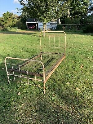 ANTIQUE CAST IRON Twin Bed Complete With Box Spring