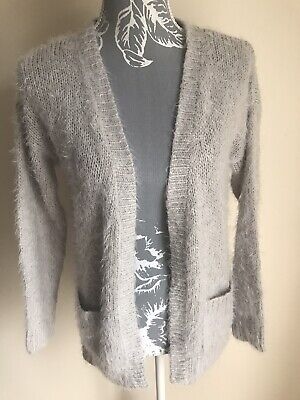 George Womens Open Front Cardigan Size 12 Light Grey With Pockets Long Sleeved