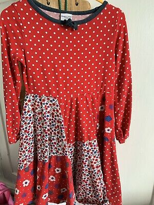 Red Patchwork Polarn o Pyret Dress, Age 3-4-5 Years Long sleeves, Spin ,Skater
