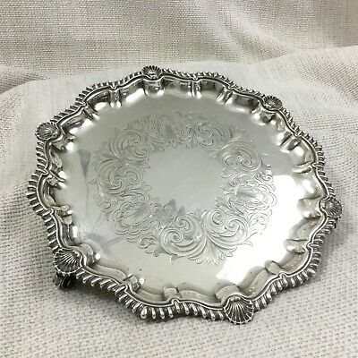 Antique Silver Plated Card Tray Footed Platter Gadroon Shell Mappin and Webb