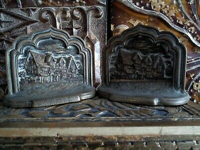 Antique Victorian brass bronze? bookends doorstops Shakespeare's House 2.55kg