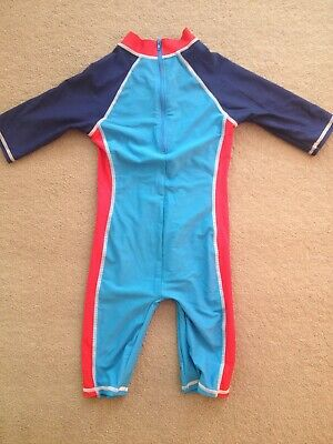Nutmeg One Piece Swimsuit Swimming Costume Unisex Blue And Red Age 4-5 Years
