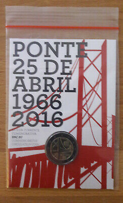 2 Euro Portugal Coincard Gedenkmünze 2016 Brücke des 25. April FDC Original