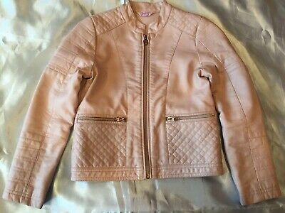 Ted Baker Girls Pale Pink Faux Leather Biker Jacket Age 9 Floral Lining Party