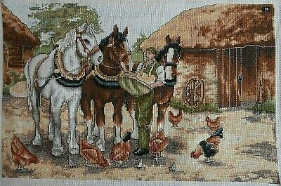 Shire Horses Chickens Farm Yard Croft completed cross stitch picture