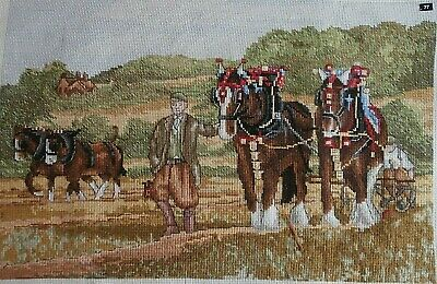 Shire Horses Plough Field Farm Yard Croft completed cross stitch picture