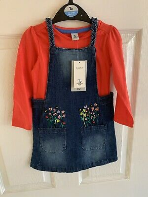 TU Denim Pinafore Dress & Top Set - 18-24 Months