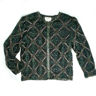Papell Boutique Evening Glam Holiday Beaded Silk Star Jacket Large Black Gold