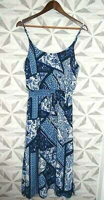 Ladies Strappy Round Neck Midi Tie Front Paisley Print Dress Size Uk 10 - A7