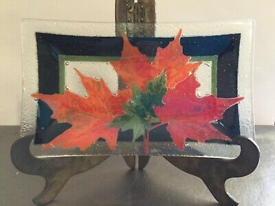 PEGGY KARR Fused Art Glass Autumn Maple Leaves Plate SIGNED Retired