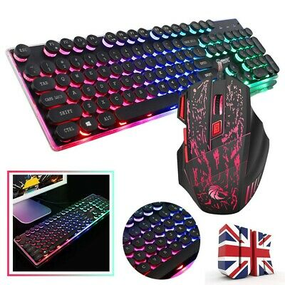 Rainbow RGB Gaming Keyboard LED Backlit Wired USB For PC Laptop Xbox PS4 UK HOT