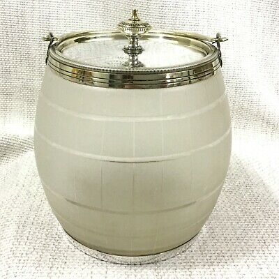 Antique Biscuit Barrel Cookie Jar Silver Plated Cut Glass Mappin and Webb