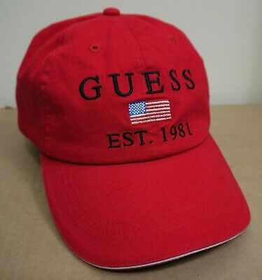 Guess Red Cap Spellout Logo USA Flag 6 Panel Baseball Hat