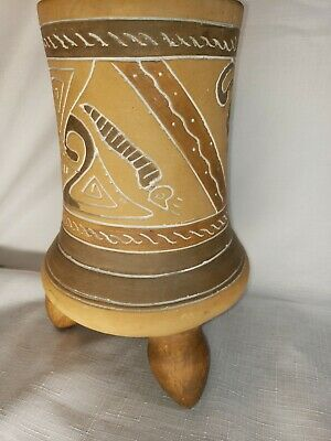 "Pre Columbian pottery reproduction tripod vase Inca Maya Aztec jar urn 10 "" tall"