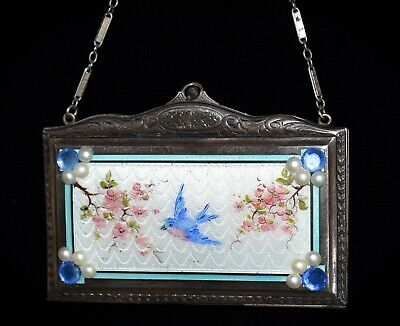 MAGNIFICENT Antique *ENAMEL GUILLOCHE JEWELED* Hand Painted *BIRD* Compact PURSE