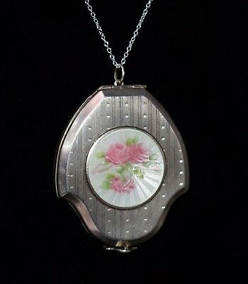Antique F&B FOSTER & BAILEY Sterling ENAMEL GUILLOCHE Locket Compact Necklace