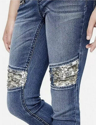 Justice Girls Size 12 Flip Sequin Knee Pull On Jean Leggings Mid Rise
