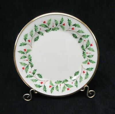 "Lenox Holiday 8"" Salad Plate Holly and Berry Christmas 24k Gold Mint condition."