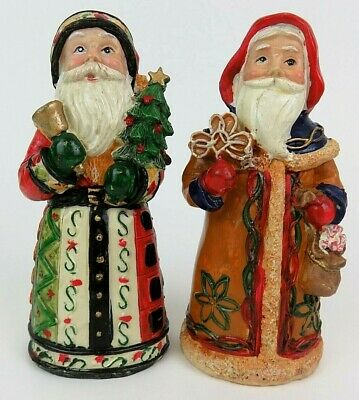 Old World Style Santa Figurines - Two Vintage Hand Painted Resin Santas 5 3/4""