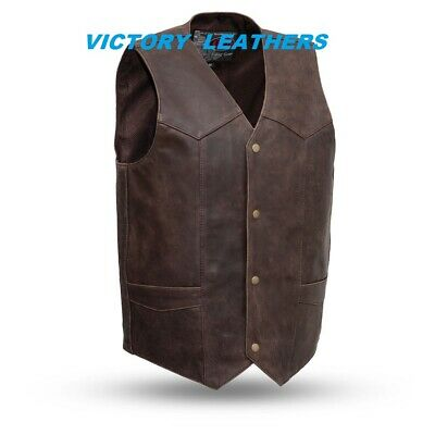 Men's Brown Classic Leather Vest with No Laces Size 2XL